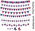 American flag themed vector bunting and garland set. Pattern brushes added to EPS file - stock vector