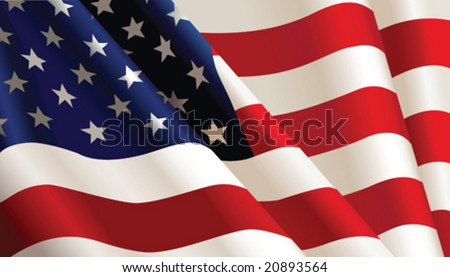 American flag, vector color Illustration - stock vector