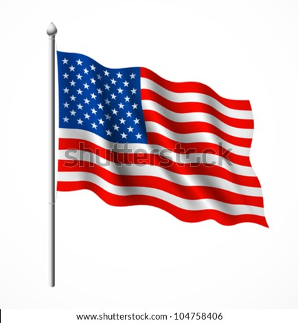 American flag, vector illustration - stock vector