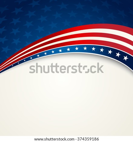American Flag, Vector patriotic background for Independence Day, Memorial Day