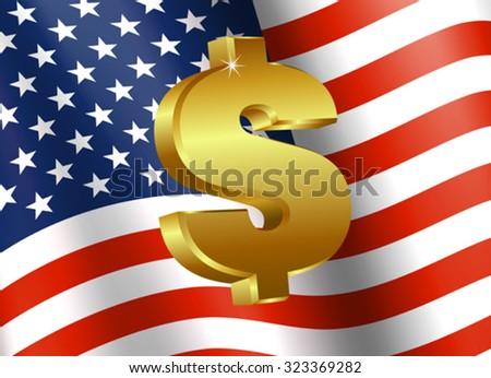 American Flag with Dollar Sign - Finance symbol with American Flag and Dollar Icon - stock vector