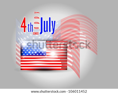 American flag with 4 of July with shiny effect presentation.