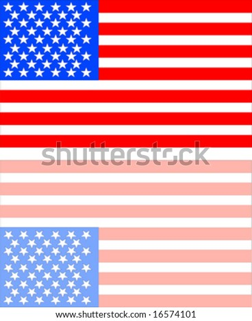 American flag with reflection - stock vector