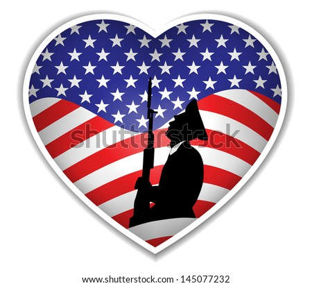 American flag with soldier and heart.Vector - stock vector