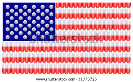 American Flag with stripes composed of red and white capsules and stars made from medicinal tablets - stock vector