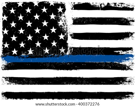 American Flag with Thin Blue Line. Grunge Aged Background. Monochrome gamut. Black and white. - stock vector