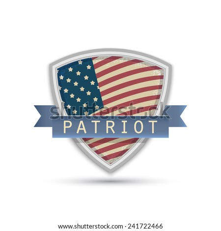 American flag words patriot Isolated on white background - stock vector
