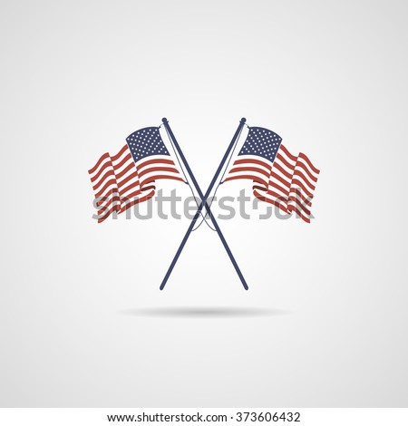 American Flags. Flags of USA. - stock vector