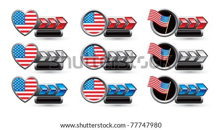 American flags, patriotic hearts and round patriotic pins - stock vector