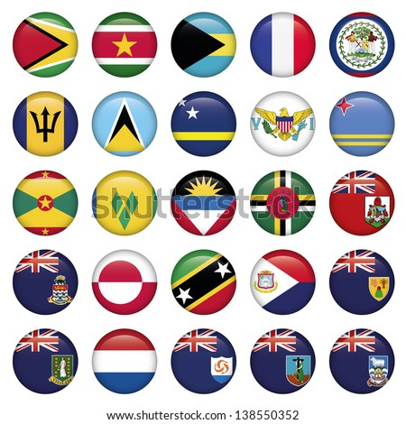 American Flags Soft Round Buttons - stock vector