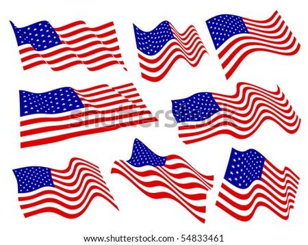 American flags waving set. - stock vector