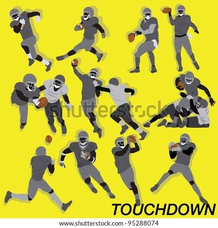 American Football Action Vector Set - stock vector