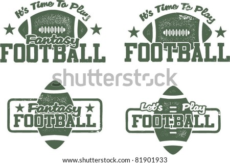 American Football and Fantasy Football Stamps - stock vector