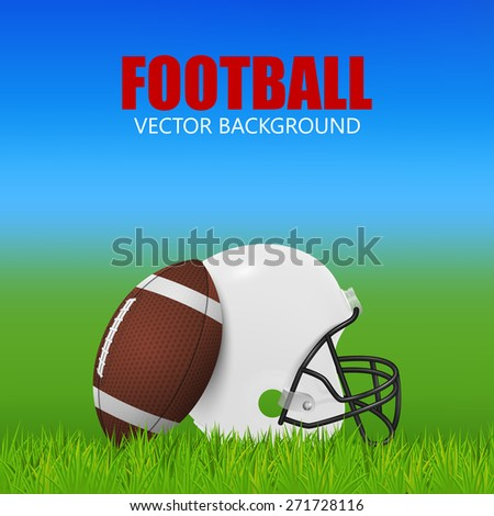 American football background - white helmet and ball on the field. Vector EPS10 illustration.  - stock vector