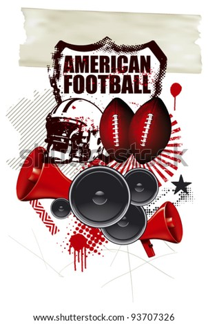 american football background with many objects