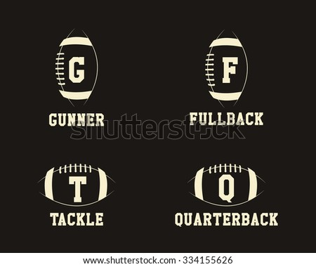 American football badge monograms with players positions, sport logo, label, insignia set in retro color style. Graphic vintage design for t-shirt, web. Print isolated on a dark background. Vector. - stock vector