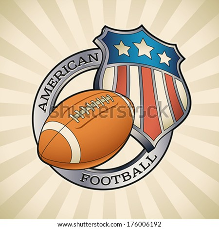 American football badge with a star striped shield and a leather ball. Editable vector illustration.