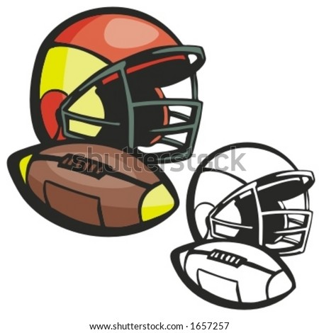 American football ball and a helmet. Vector illustration - stock vector