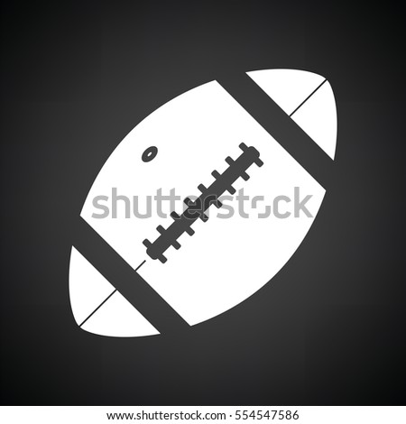 American football ball icon. Black background with white. Vector illustration.
