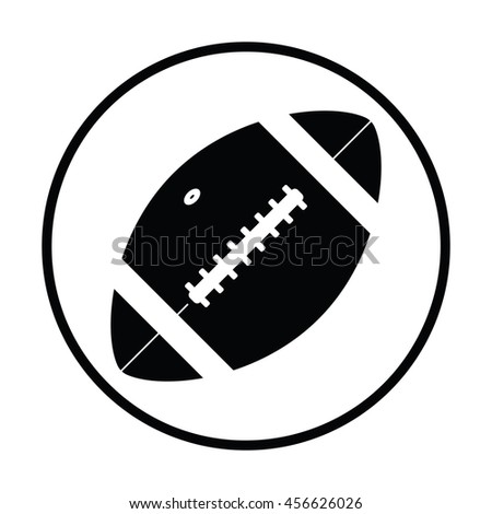 American football ball icon. Thin circle design. Vector illustration.