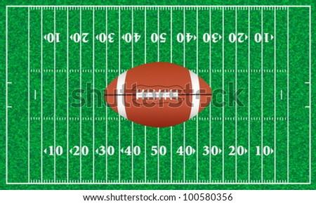 American football ball on a playground. Vector illustration. - stock vector