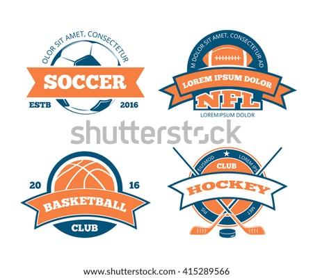 American football, basketball, soccer, hockey sports team vector labels, emblems, logos and badges. Sport american football, logo sport, label sport soccer, sport hockey illustration - stock vector