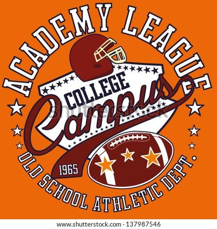 american football college team vector art - stock vector