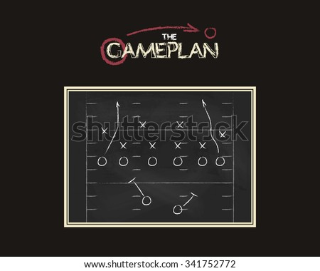 American football field background with game plan blackboard. Chalkboard unusual design. Sports tactic concept. Hand drawn style - stock vector