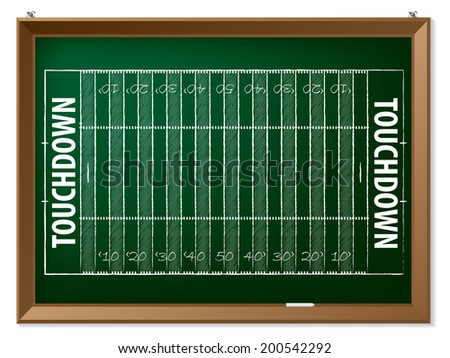 American football field drawn by hand on chalkboard - stock vector