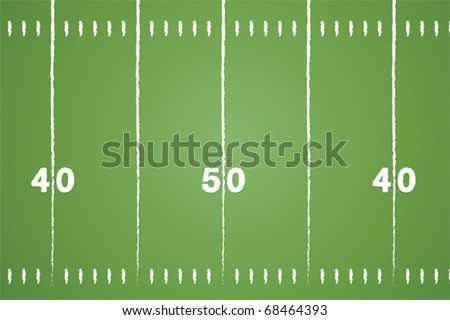 American football field vector with chalk drawn lines. - stock vector
