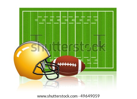 American football field with ball and helmet - stock vector