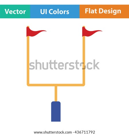 American football goal post icon. Flat color design. Vector illustration. - stock vector