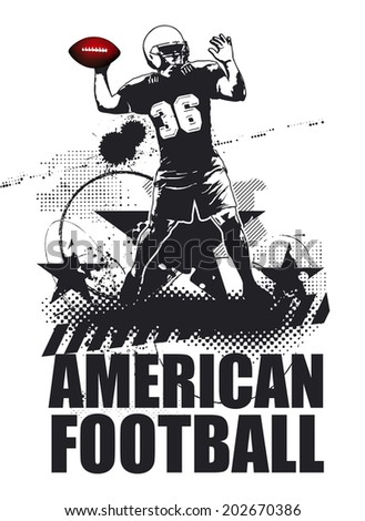 american football grunge scene with player - stock vector