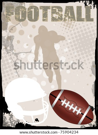 American football grungy background, vector illustration - stock vector