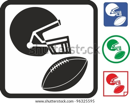 American football. Helmet and ball vector icon - stock vector