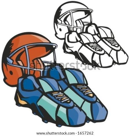 American football helmet and boots. Vector illustration - stock vector