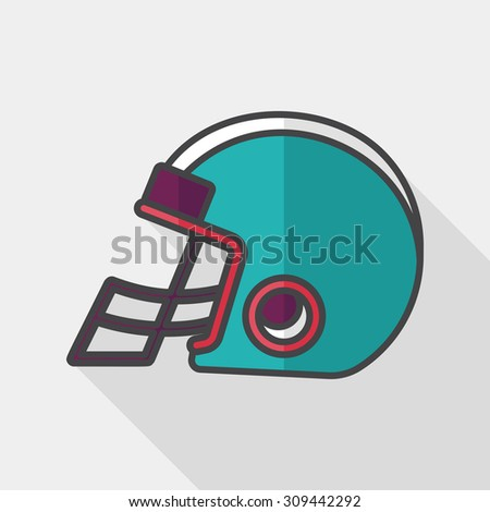 american football helmet flat icon with long shadow,eps10 - stock vector