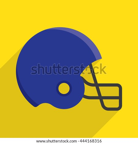 american football helmet icon with long shadow. flat style vector illustration - stock vector