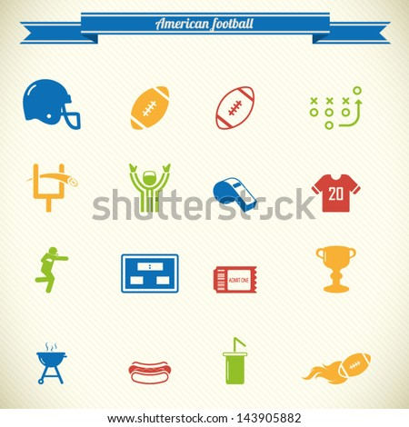 American football icon set in color - stock vector