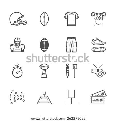 American Football Icons - stock vector