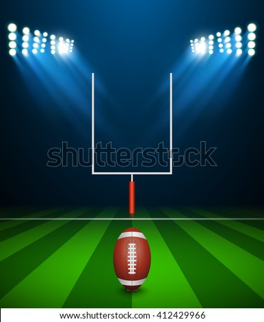 American football on field with goal post, vector - stock vector