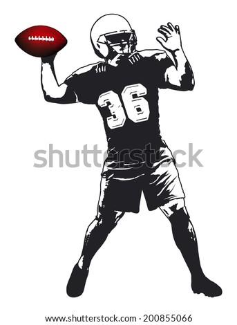 american football player - stock vector