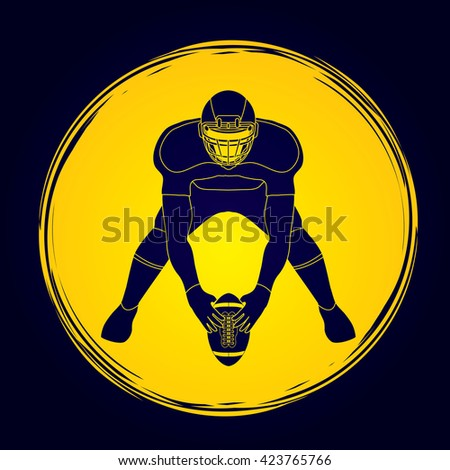 American football player front view designed on grunge cycle background graphic vector - stock vector