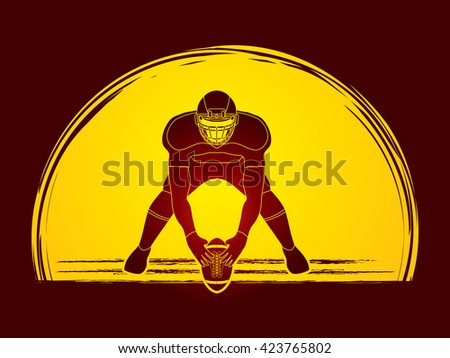 American football player front view designed on moonlight background graphic vector - stock vector