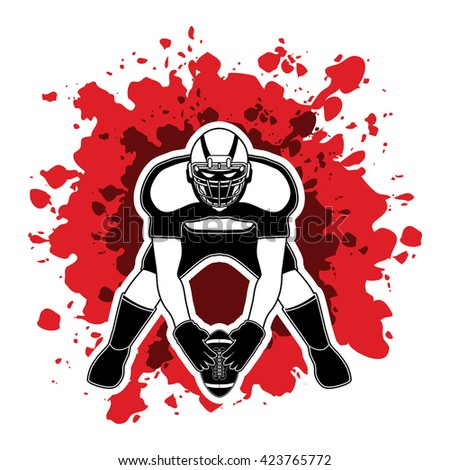 American football player front view designed on splash blood background graphic vector - stock vector