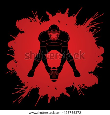 American football player front view designed on splatter ink background graphic vector - stock vector