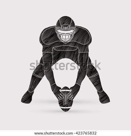 American football player front view designed using black grunge brush graphic vector - stock vector