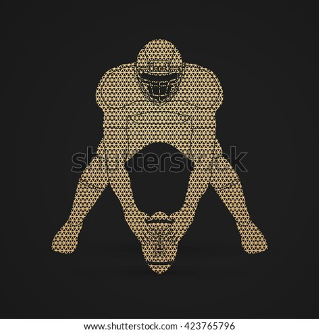 American football player front view designed using geometric pattern graphic vector - stock vector