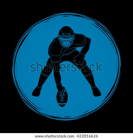 American football player posing designed on grunge circle background graphic vector - stock vector