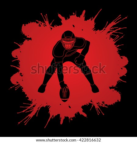 American football player posing designed on splash blood background graphic vector - stock vector